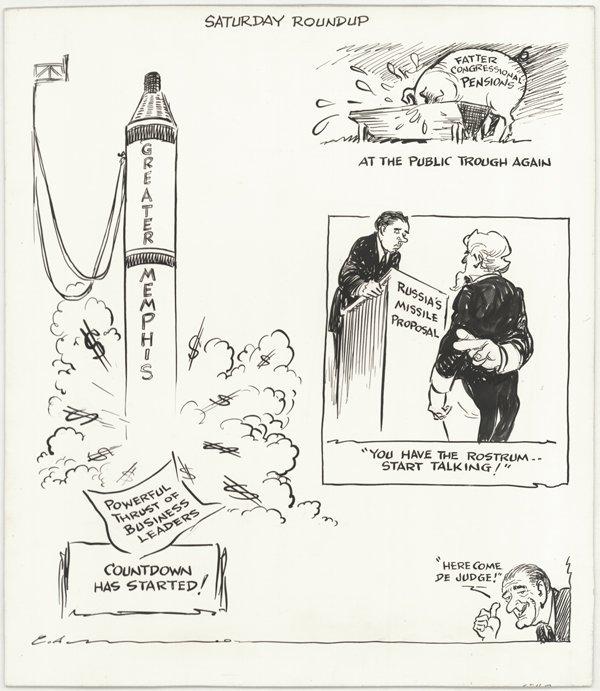3: 4 Opper / Alley / Brooks cartoons original comic art