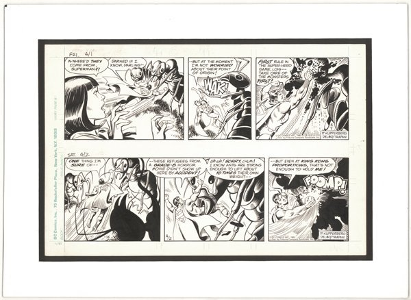 6: Delbo 2 Superman dailies 1983 original comic art