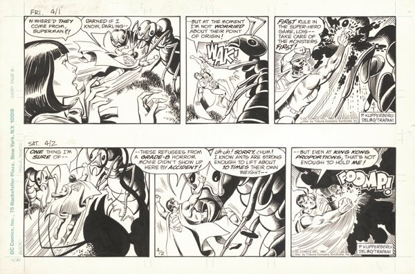 6: Delbo 2 Superman dailies 1983 original comic art - 2