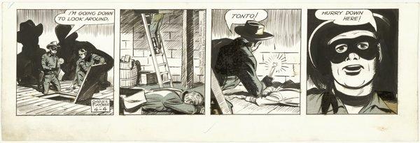 9: Flanders Lone Ranger daily 4/4/59 orignal comic art