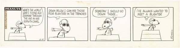 157: Schulz Peanuts daily 5/9/67 original comic art