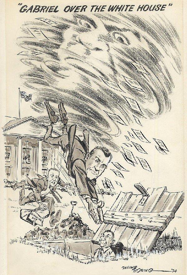 1: Boring editorial cartoon 1974 original comic art