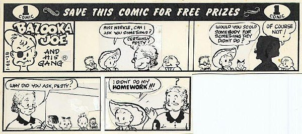 7: Topps Bazooka Joe #1-62-28 1962 original comic art
