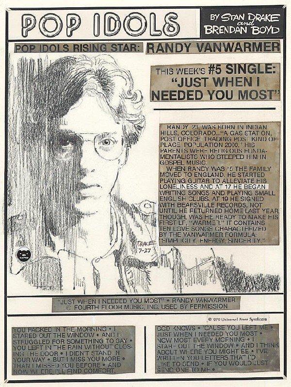 23: Drake Pop Idols daily 7/27/79 original comic art