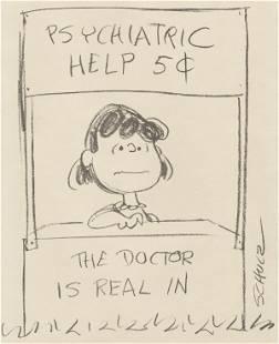 220: Schulz Lucy Psychiatrist booth original comic art