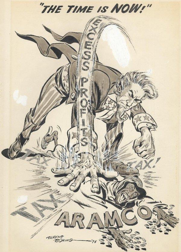 3: Boring editorial cartoon 1974 original comic art