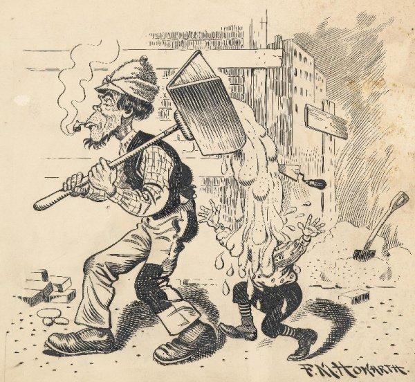 5: Howarth Puck cartoon 1893 original comic art