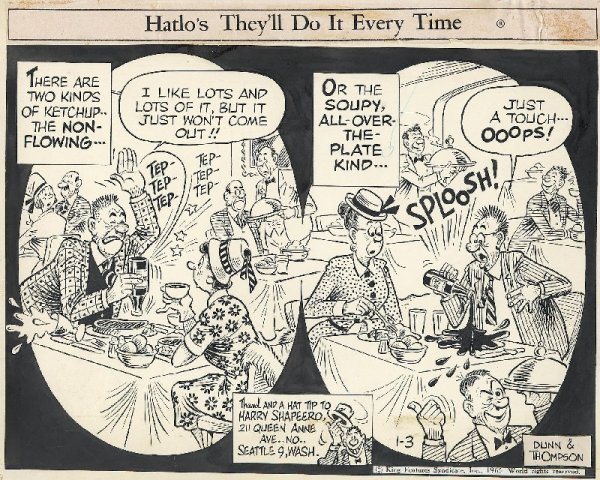 8: Funny Business daily + 3 others original comic art
