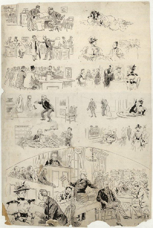 8: Opper Puck illustration c1900 original comic art