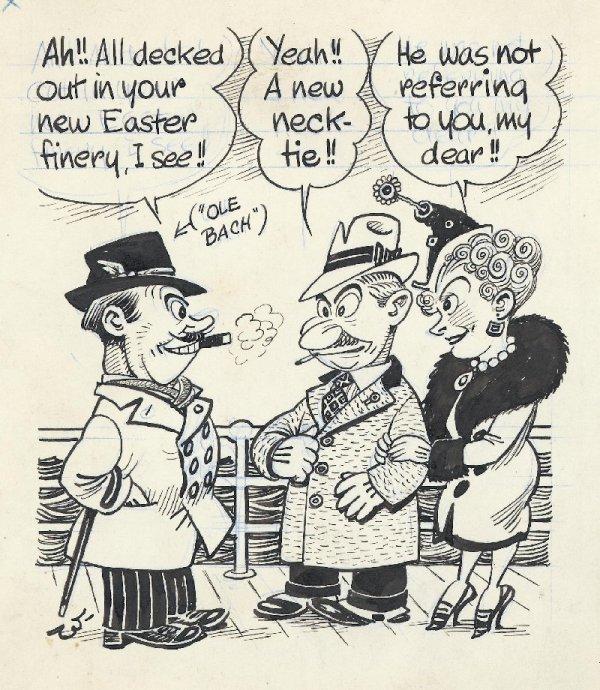 2: Wallgren gag panel cartoon date unknown original art