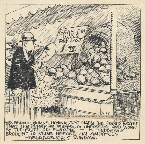 4: Herriman Bernie Burns daily 5/19/32 original art