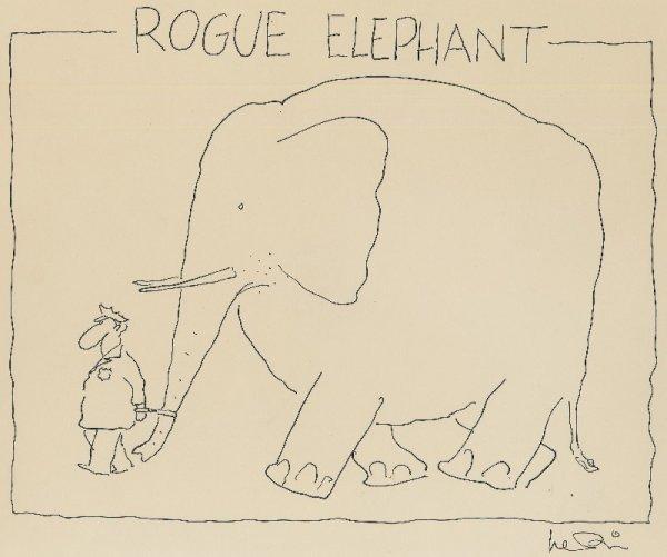 11: Levin gag panel cartoon The New Yorker original art