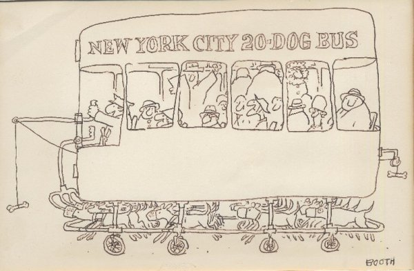 13: Booth gag panel cartoon The New Yorker original art