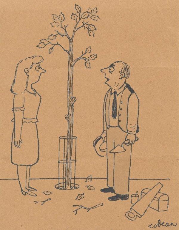 14: Cobean gag panel cartoon New Yorker original art