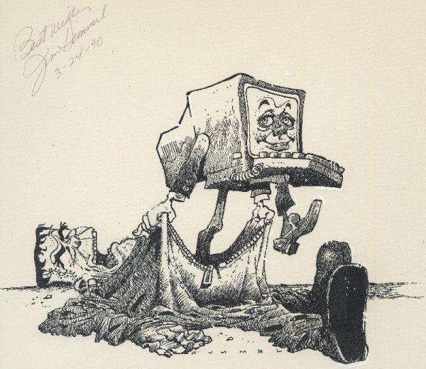 21: Hummel gag cartoon Computer World 1990 original art
