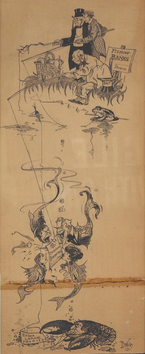 2: Dwiggins political cartoon 1906 original comic art