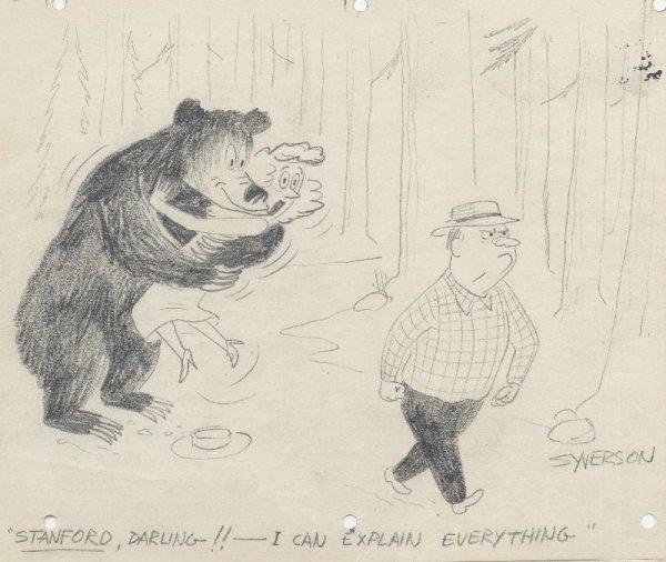 13: Syverson 4 cartoons c1950 original comic art