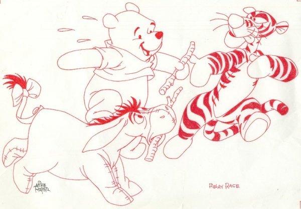 19: Royer Winnie Tigger Eyeore c1990 original comic art