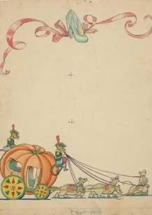 9: Cinderella color illustration for book 1930s