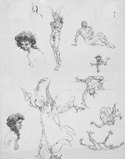 305: Frank Frazetta 9 ink sketches on one sheet 1950s
