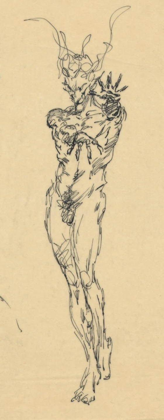 305: Frank Frazetta 9 ink sketches on one sheet 1950s - 2