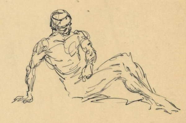 305: Frank Frazetta 9 ink sketches on one sheet 1950s - 3