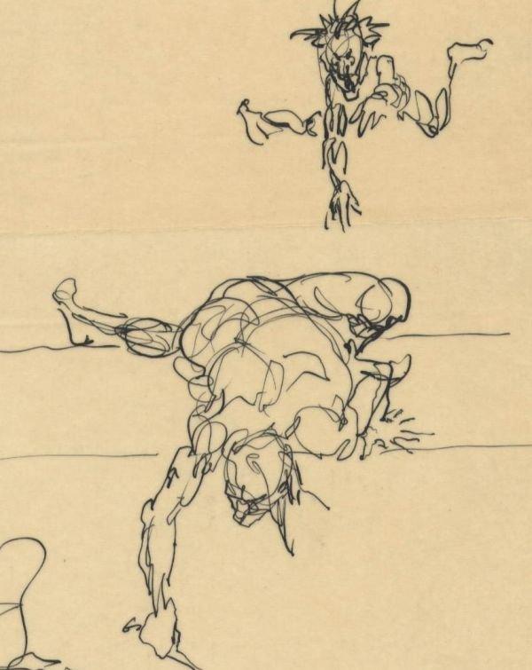 305: Frank Frazetta 9 ink sketches on one sheet 1950s - 4
