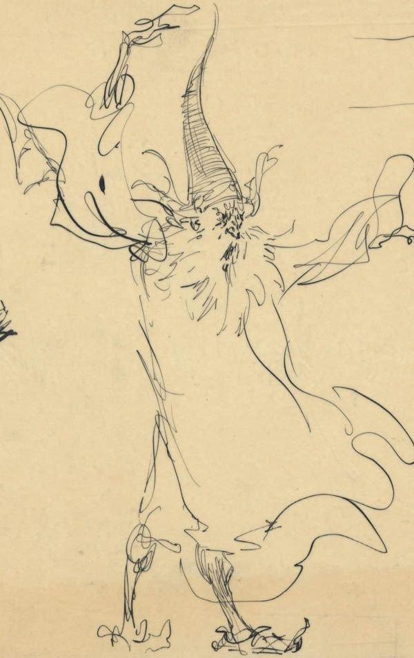 305: Frank Frazetta 9 ink sketches on one sheet 1950s - 5