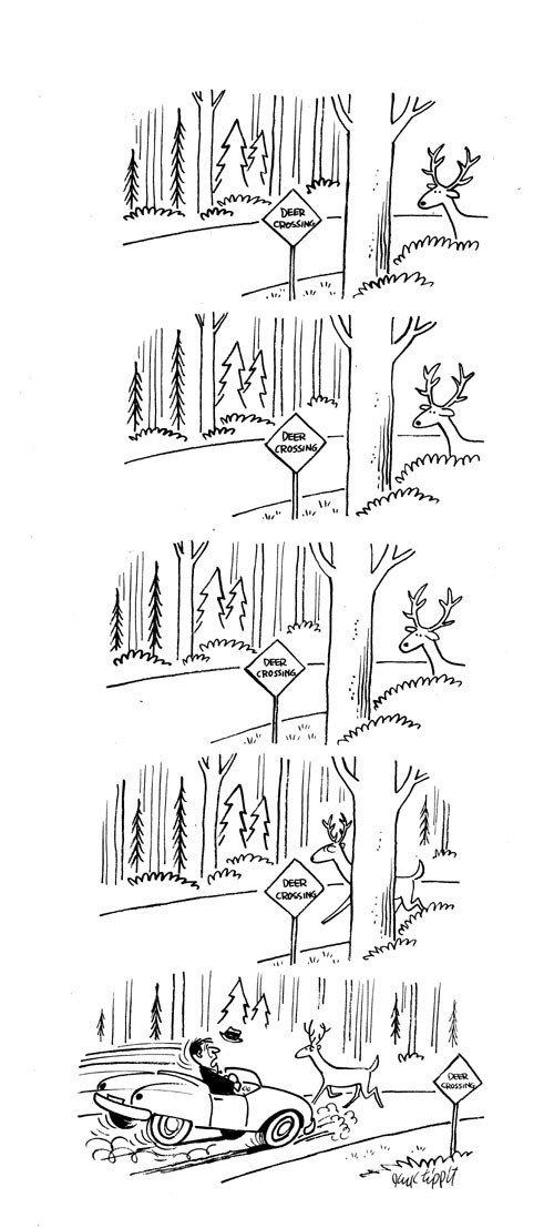 10: Jack Tippit magazine cartoon Deer Crossing
