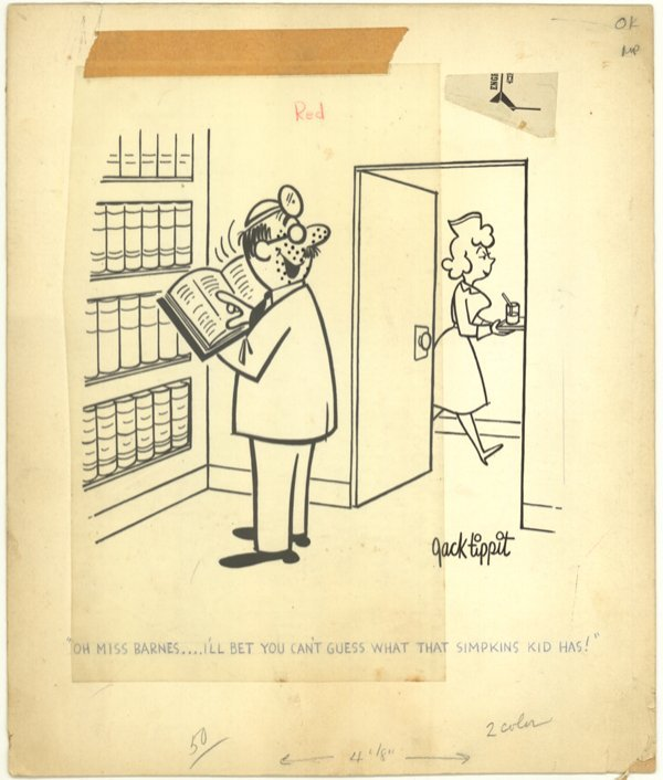 6: Jack Tippit pen and ink magazine cartoon original