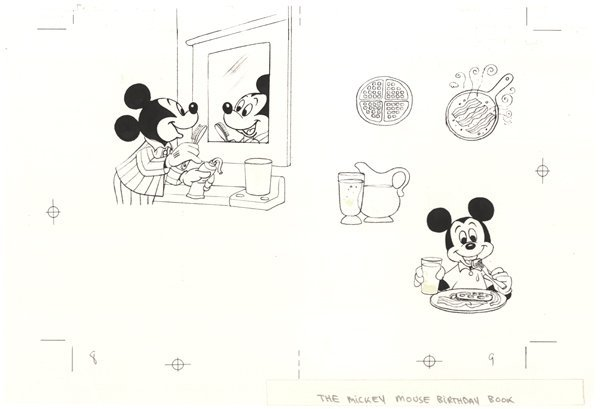 13: Disney 3 b/w cels Mickey Mouse Birthday Book