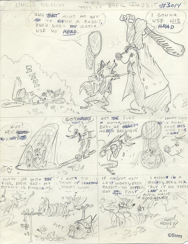 23: Disney Brer Rabbit original comic story layout pgs