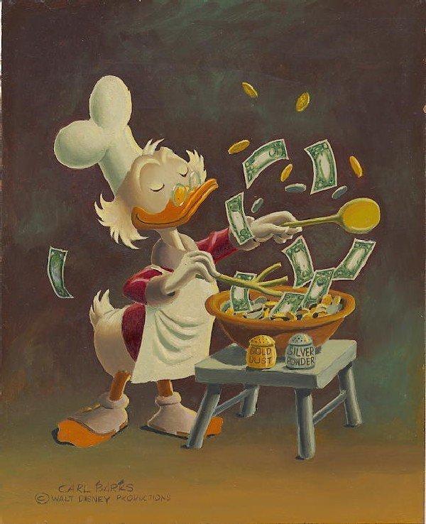 254: Carl Barks oil painting #875 Banker's Salad 1975