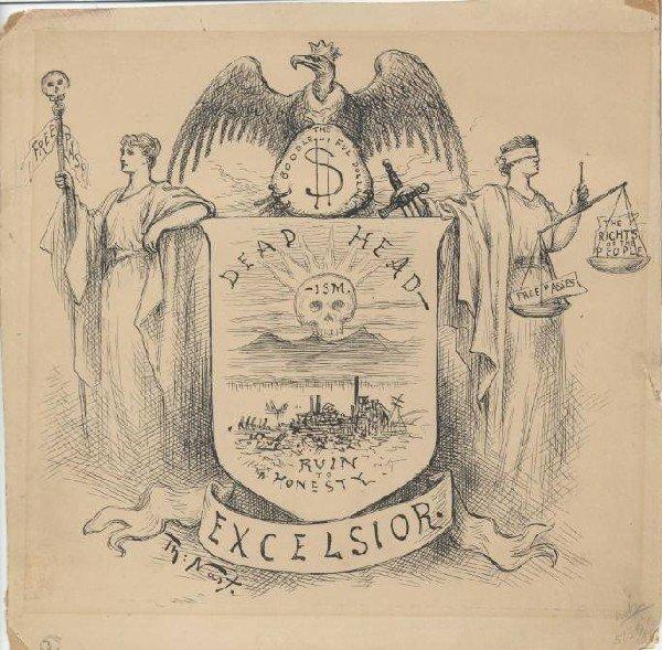 1: Nast original editorial cartoon 1875 Harper's Weekly