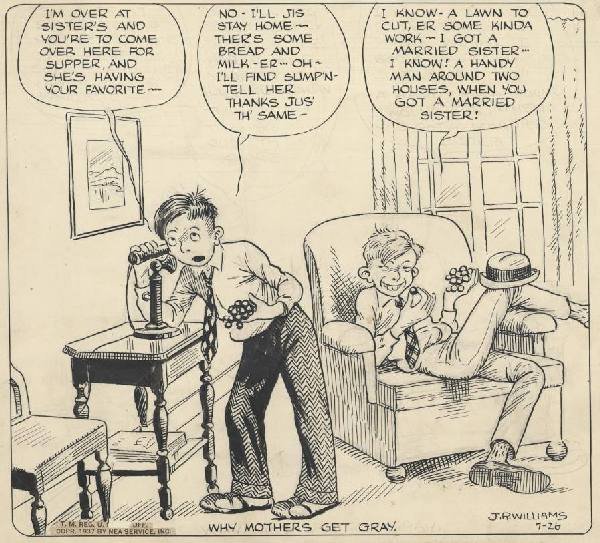 15: Williams Out Our Way daily 1937 original comic art