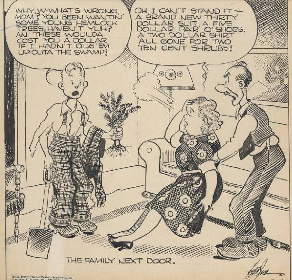 16: Dodd Back Home Again daily 1939 original comic art