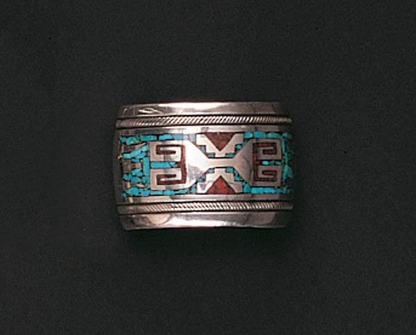 1011: Zuni Turquoise and Coral Bracelet