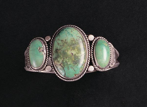 1018: Navajo Silver and Turquoise Bracelet