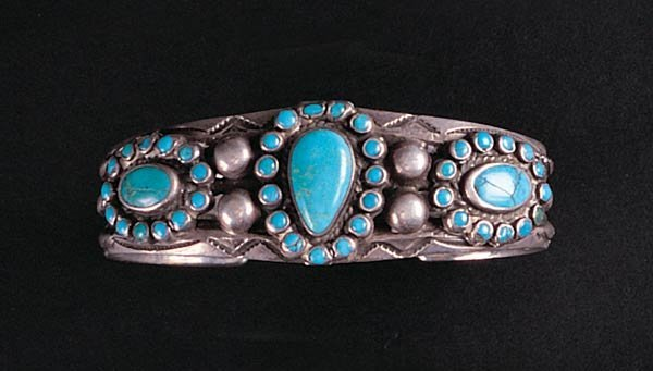 1019: Navajo Silver and Turquoise Bracelet
