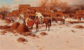 Gary Niblett  Winter Scene Taos Pueblo