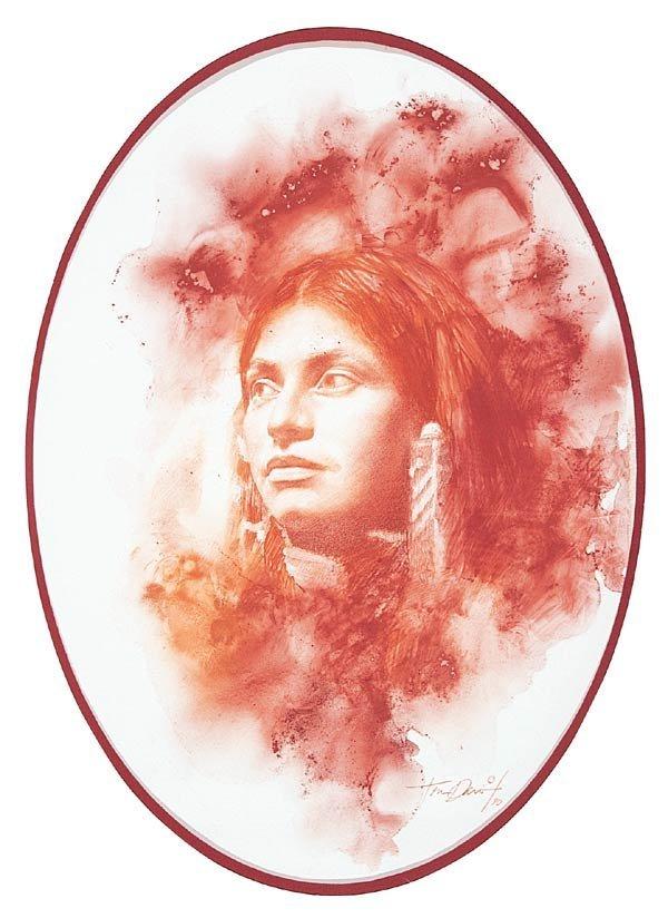 """11: Thomas P. Darro """"Portrait of a Native American"""""""