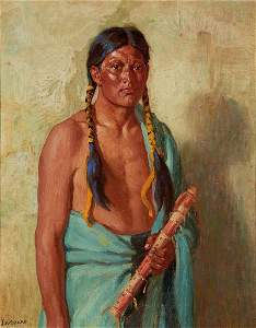 Joseph Henry Sharp | Jerry Taos with Lover's Flute