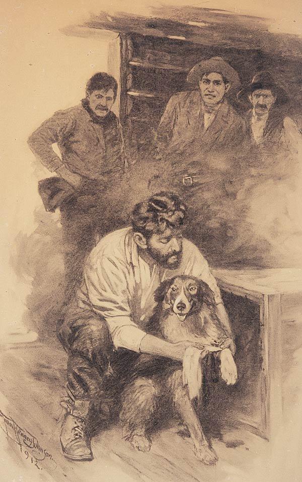 "1142: Frank Tenney Johnson ""Men and Dog"""