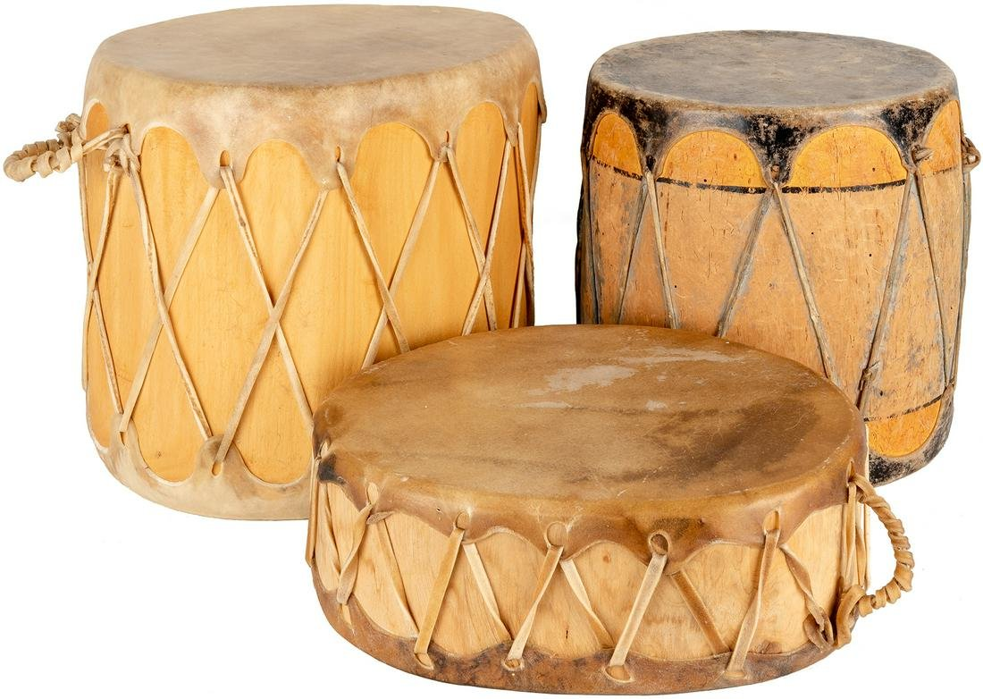 Unknown | Cochiti and Taos Drums - Group of 3
