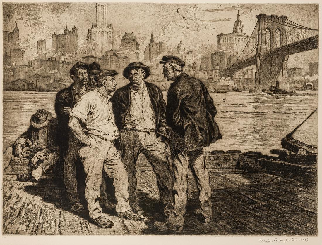 Martin Lewis | Dock Workers Under the Brooklyn Bridge