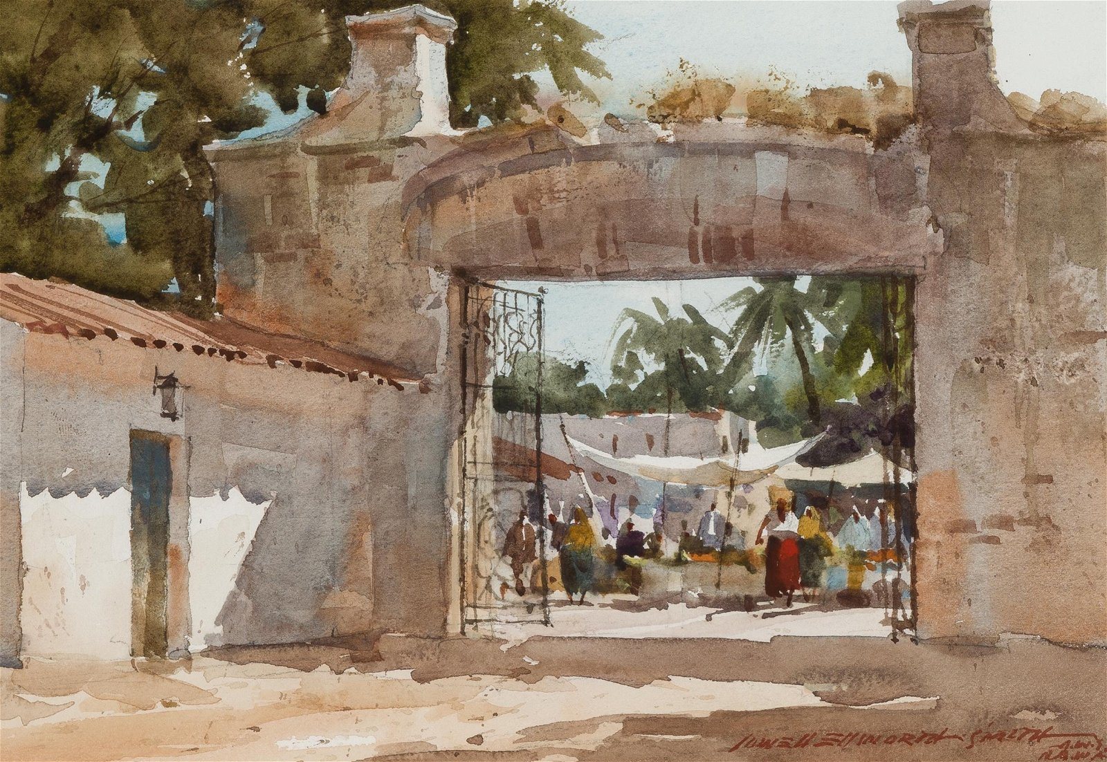 Lowell Ellsworth Smith | Marketplace through Archway,