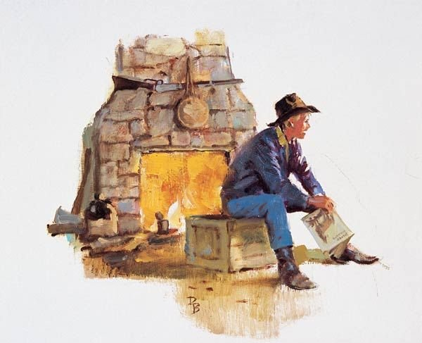 20: Duane Bryers ``Cowboy by Fireplace``