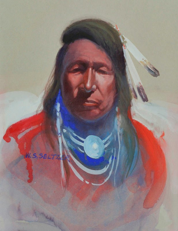 Steve Seltzer    Indian Portrait with Red Shirt