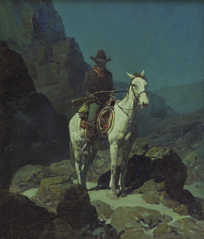 Frank Tenney Johnson, 'Cowboy on Horse at Night'