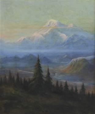 Albert Bierstadt, 'Puyallup River Valley and Mount